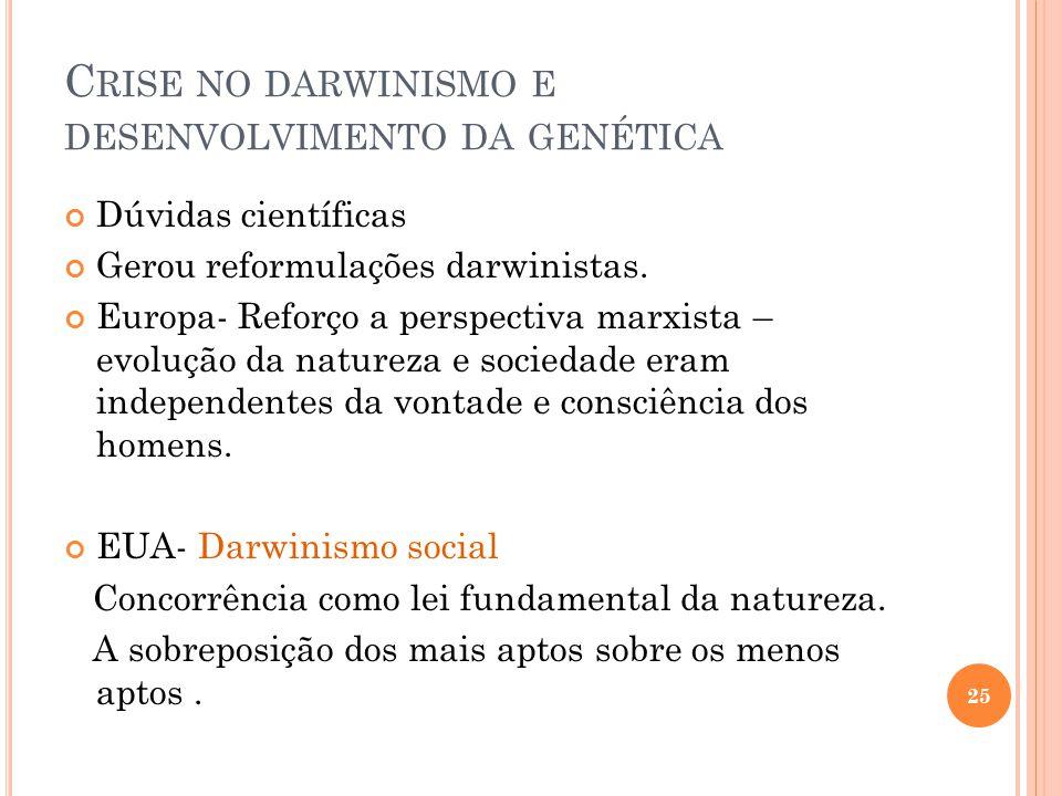 Crise no darwinismo e desenvolvimento da genética
