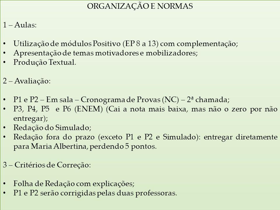 ORGANIZAÇÃO E NORMAS 1 – Aulas: Utilização de módulos Positivo (EP 8 a 13) com complementação; Apresentação de temas motivadores e mobilizadores;