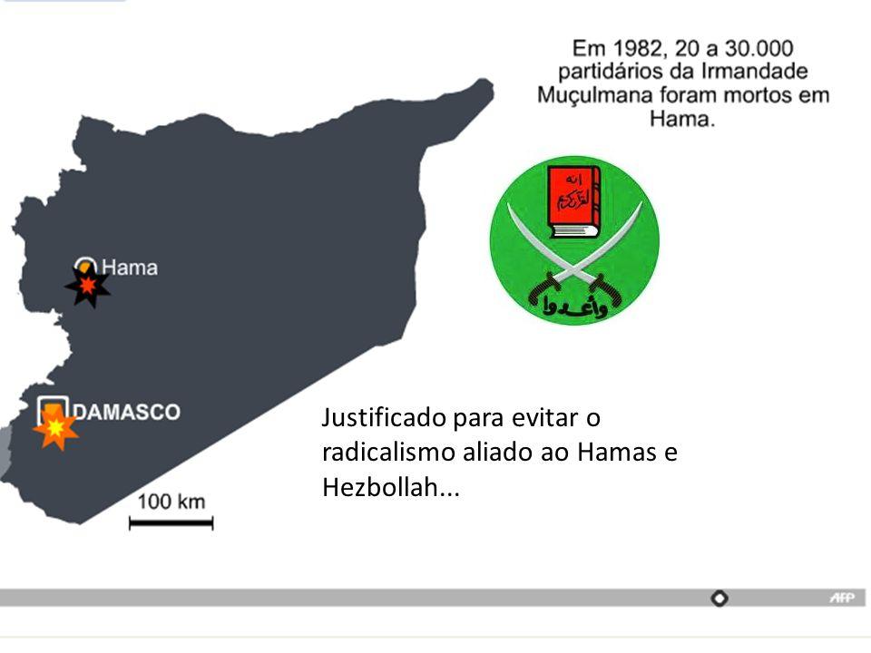 Justificado para evitar o radicalismo aliado ao Hamas e Hezbollah...