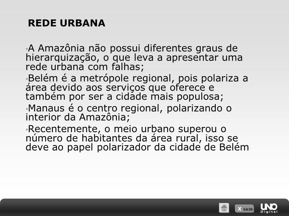 REDE URBANA A Amazônia não possui diferentes graus de hierarquização, o que leva a apresentar uma rede urbana com falhas;