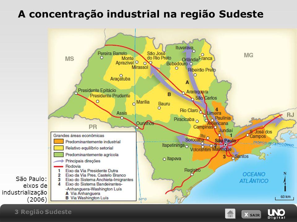 A concentração industrial na região Sudeste