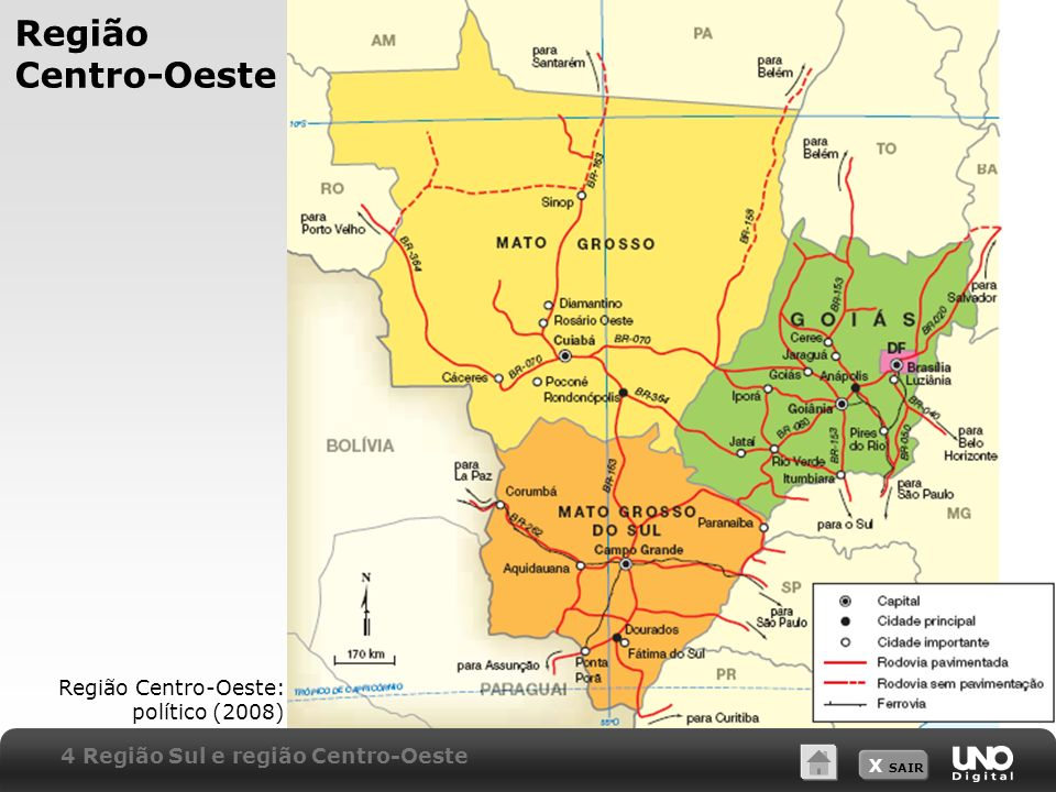 Região Centro-Oeste Região Centro-Oeste: político (2008)