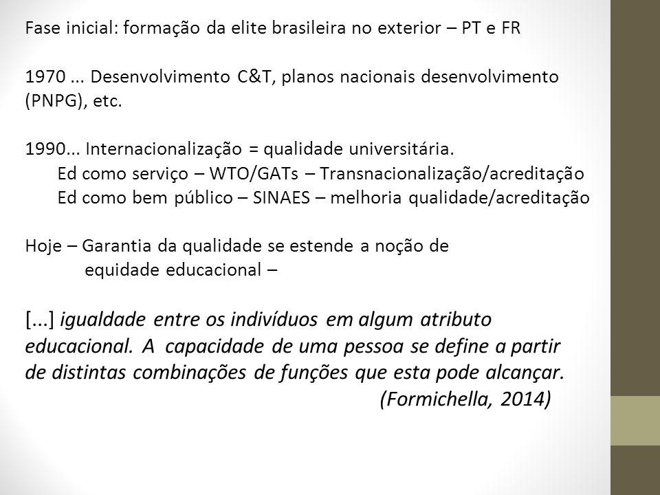 Fase inicial: formação da elite brasileira no exterior – PT e FR 1970