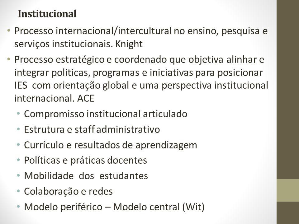 Institucional Processo internacional/intercultural no ensino, pesquisa e serviços institucionais. Knight.