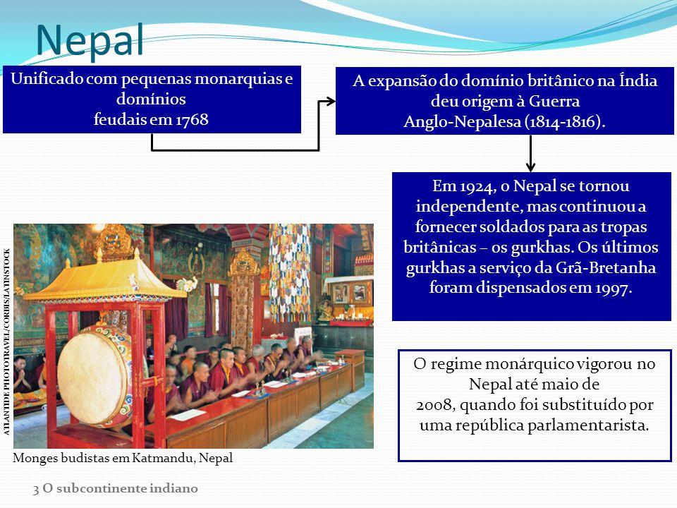 Nepal Unificado com pequenas monarquias e domínios feudais em 1768