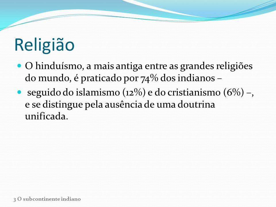 Religião O hinduísmo, a mais antiga entre as grandes religiões do mundo, é praticado por 74% dos indianos –