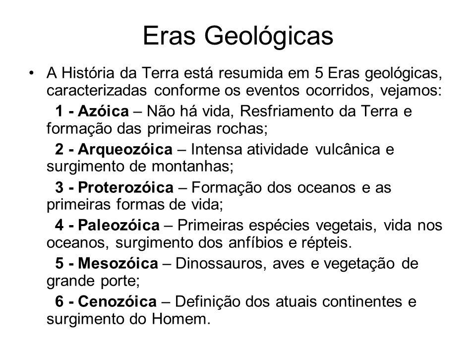 Eras Geológicas A História da Terra está resumida em 5 Eras geológicas, caracterizadas conforme os eventos ocorridos, vejamos:
