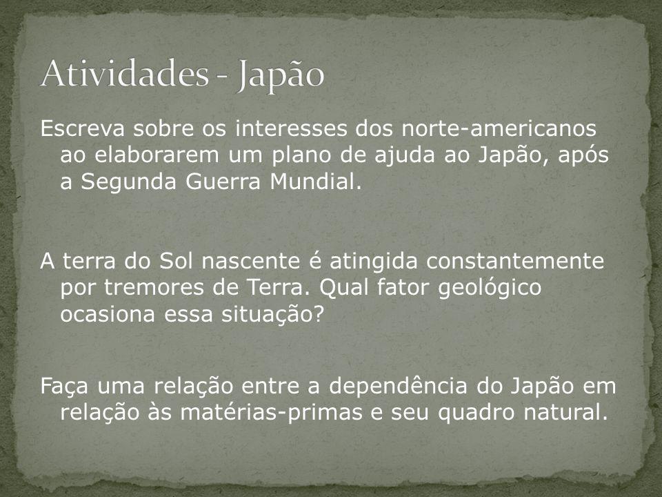 Atividades - Japão Escreva sobre os interesses dos norte-americanos ao elaborarem um plano de ajuda ao Japão, após a Segunda Guerra Mundial.