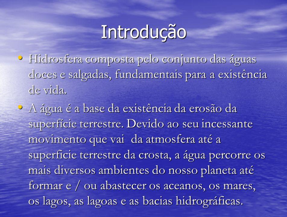 IntroduçãoHidrosfera composta pelo conjunto das águas doces e salgadas, fundamentais para a existência de vida.