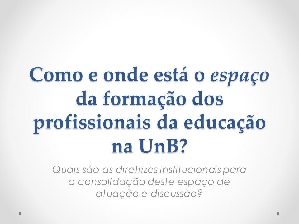 Como e onde está o espaço da formação dos profissionais da educação na UnB