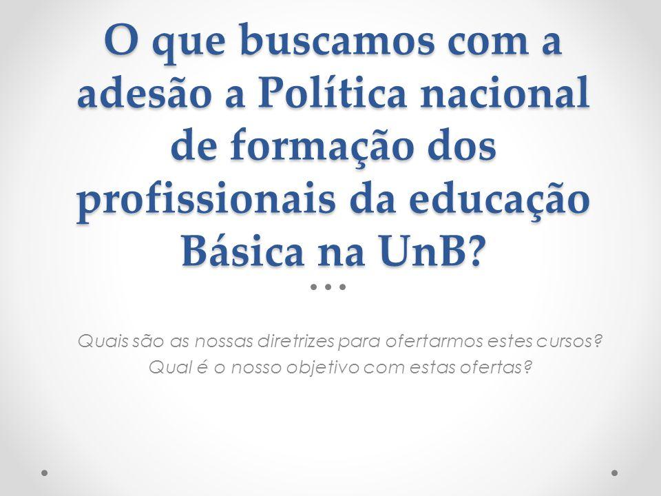 O que buscamos com a adesão a Política nacional de formação dos profissionais da educação Básica na UnB