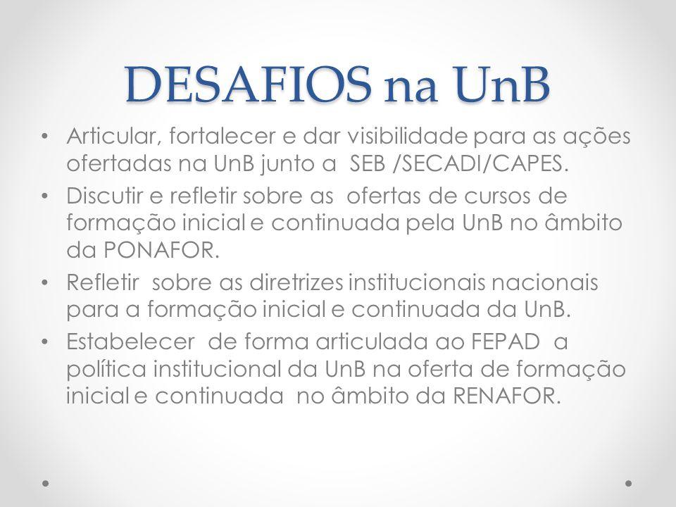 DESAFIOS na UnB Articular, fortalecer e dar visibilidade para as ações ofertadas na UnB junto a SEB /SECADI/CAPES.