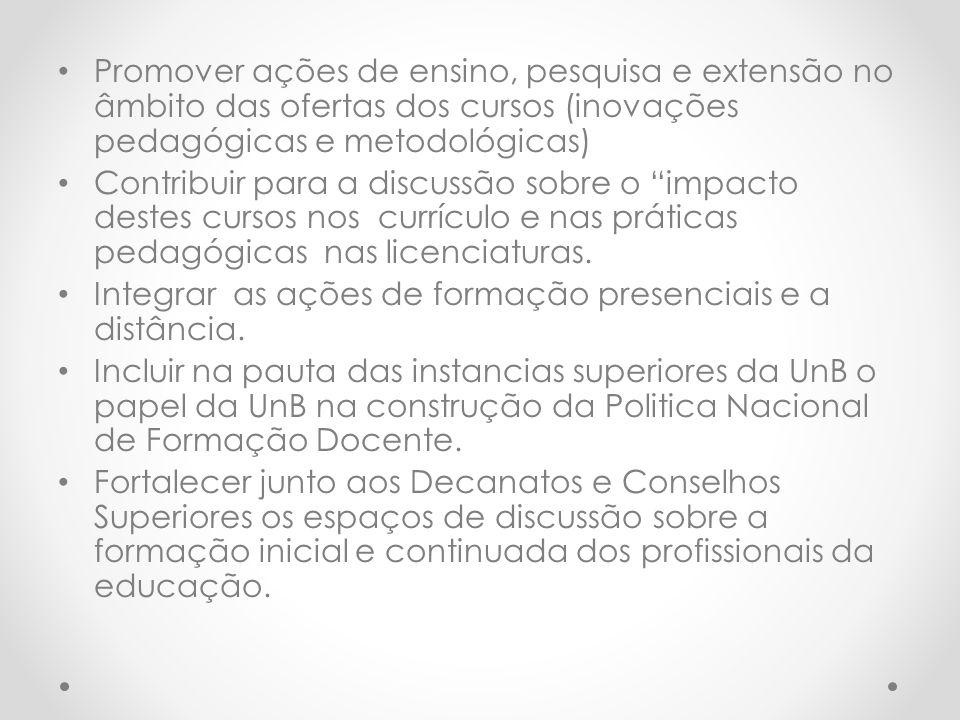 Promover ações de ensino, pesquisa e extensão no âmbito das ofertas dos cursos (inovações pedagógicas e metodológicas)