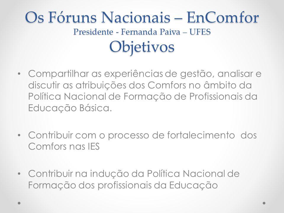 Os Fóruns Nacionais – EnComfor Presidente - Fernanda Paiva – UFES Objetivos