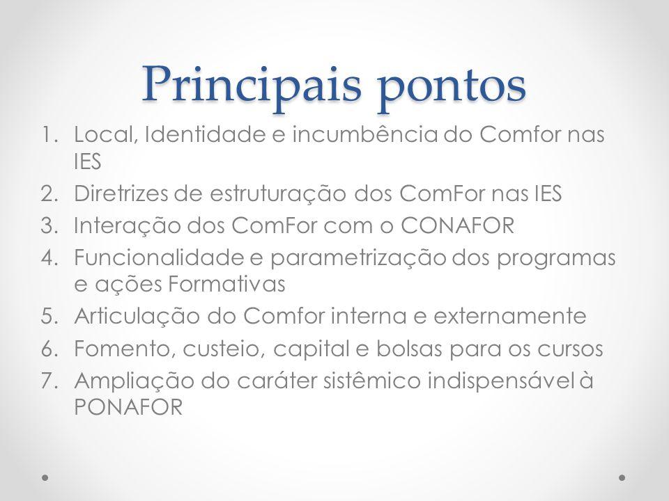 Principais pontos Local, Identidade e incumbência do Comfor nas IES