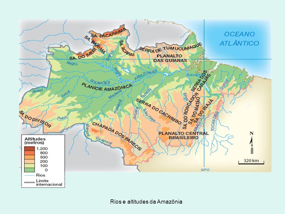 Rios e altitudes da Amazônia