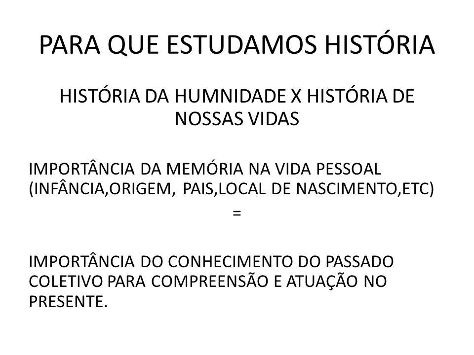 PARA QUE ESTUDAMOS HISTÓRIA