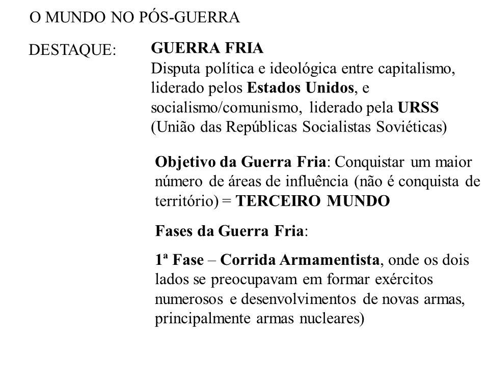 O MUNDO NO PÓS-GUERRA DESTAQUE: GUERRA FRIA.