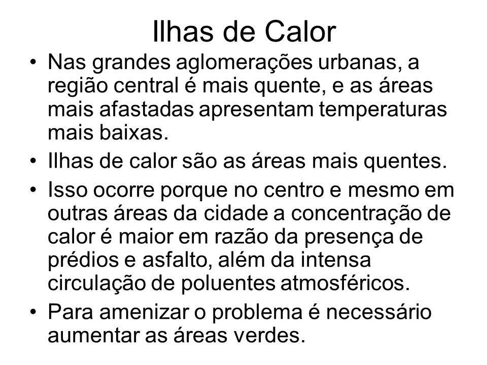 Ilhas de Calor Nas grandes aglomerações urbanas, a região central é mais quente, e as áreas mais afastadas apresentam temperaturas mais baixas.