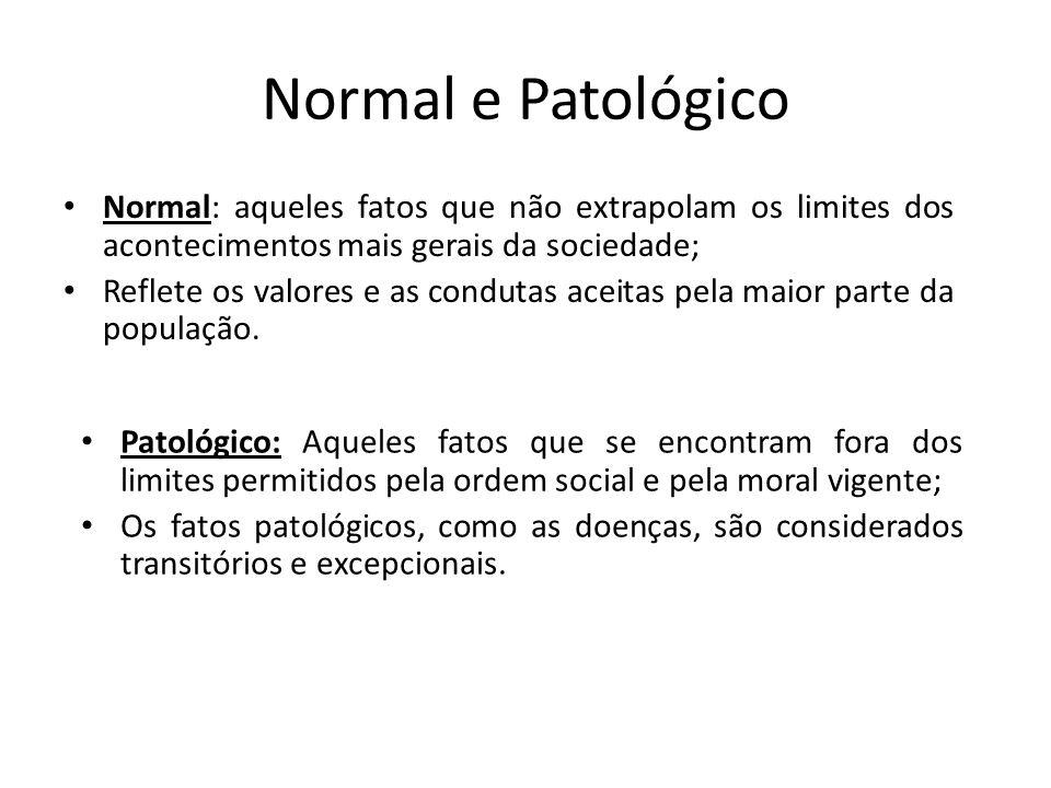 Normal e Patológico Normal: aqueles fatos que não extrapolam os limites dos acontecimentos mais gerais da sociedade;