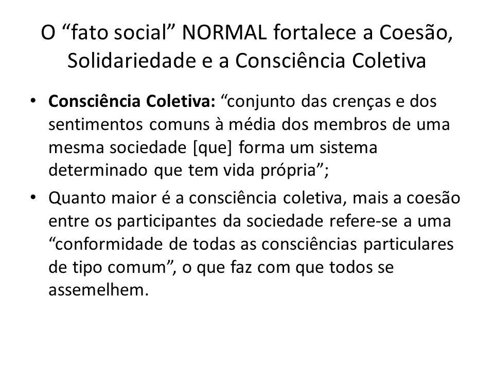 O fato social NORMAL fortalece a Coesão, Solidariedade e a Consciência Coletiva