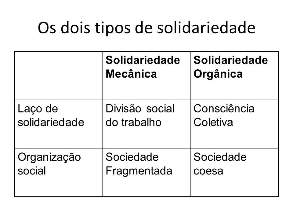 Os dois tipos de solidariedade
