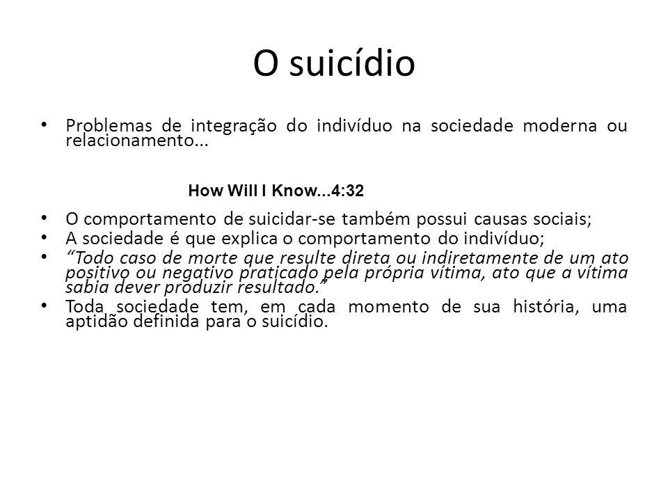 O suicídio Problemas de integração do indivíduo na sociedade moderna ou relacionamento...