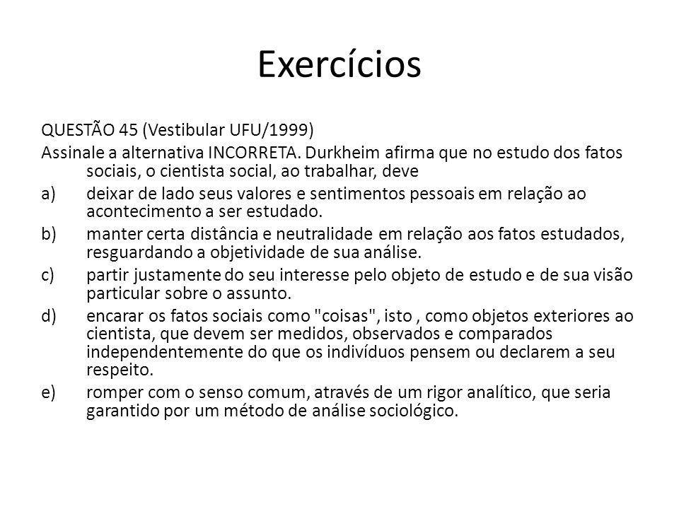 Exercícios QUESTÃO 45 (Vestibular UFU/1999)