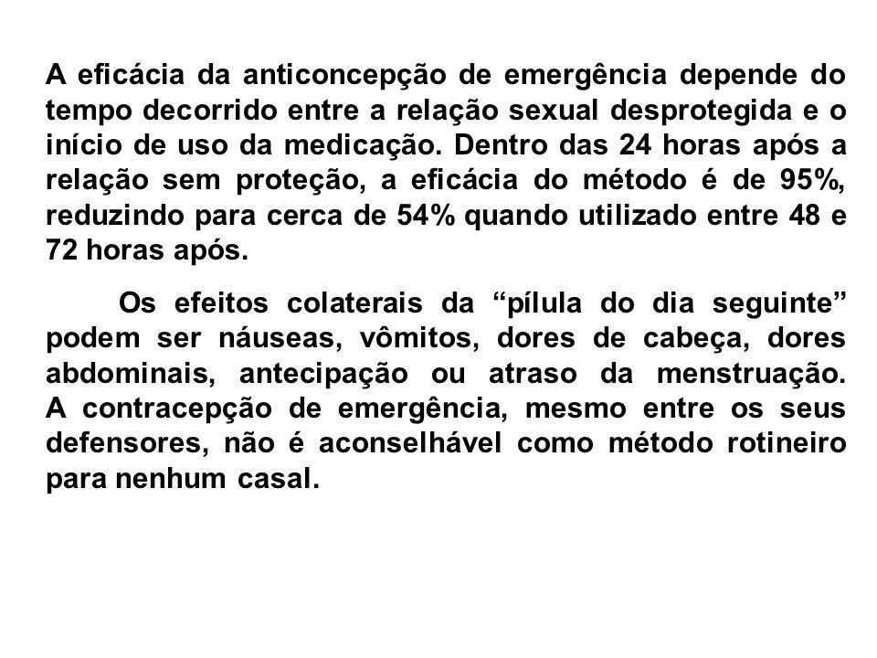 A eficácia da anticoncepção de emergência depende do tempo decorrido entre a relação sexual desprotegida e o início de uso da medicação. Dentro das 24 horas após a relação sem proteção, a eficácia do método é de 95%, reduzindo para cerca de 54% quando utilizado entre 48 e 72 horas após.