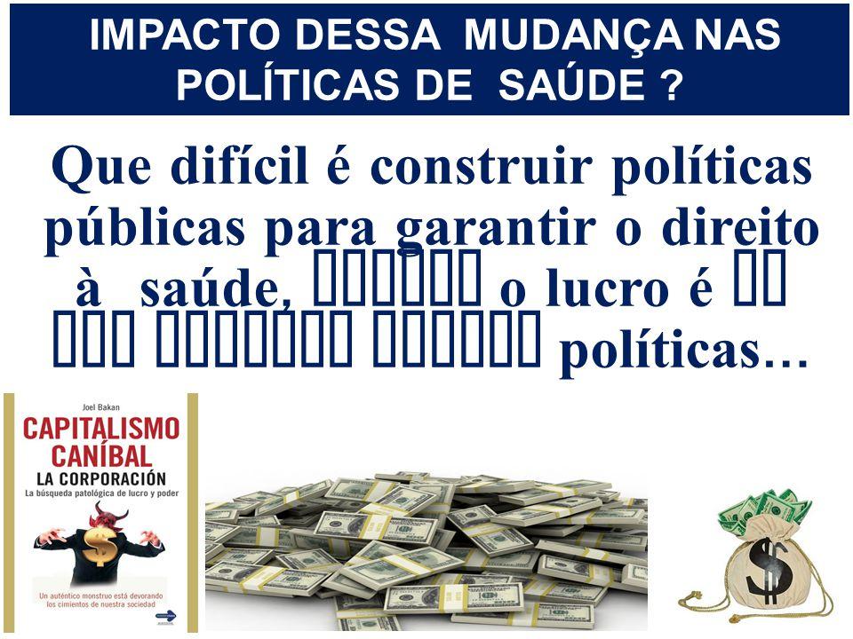 IMPACTO DESSA MUDANÇA NAS POLÍTICAS DE SAÚDE