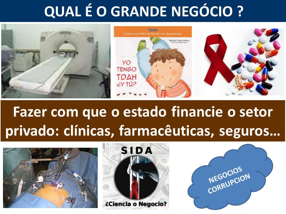 QUAL É O GRANDE NEGÓCIO Fazer com que o estado financie o setor privado: clínicas, farmacêuticas, seguros…