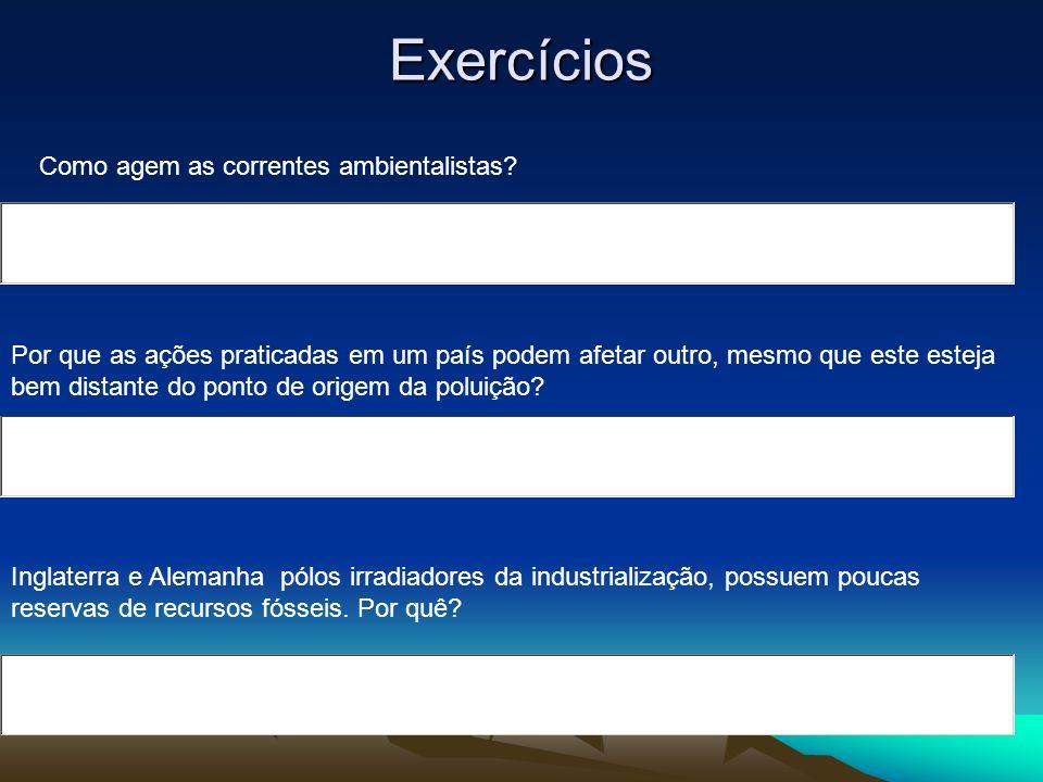Exercícios Como agem as correntes ambientalistas