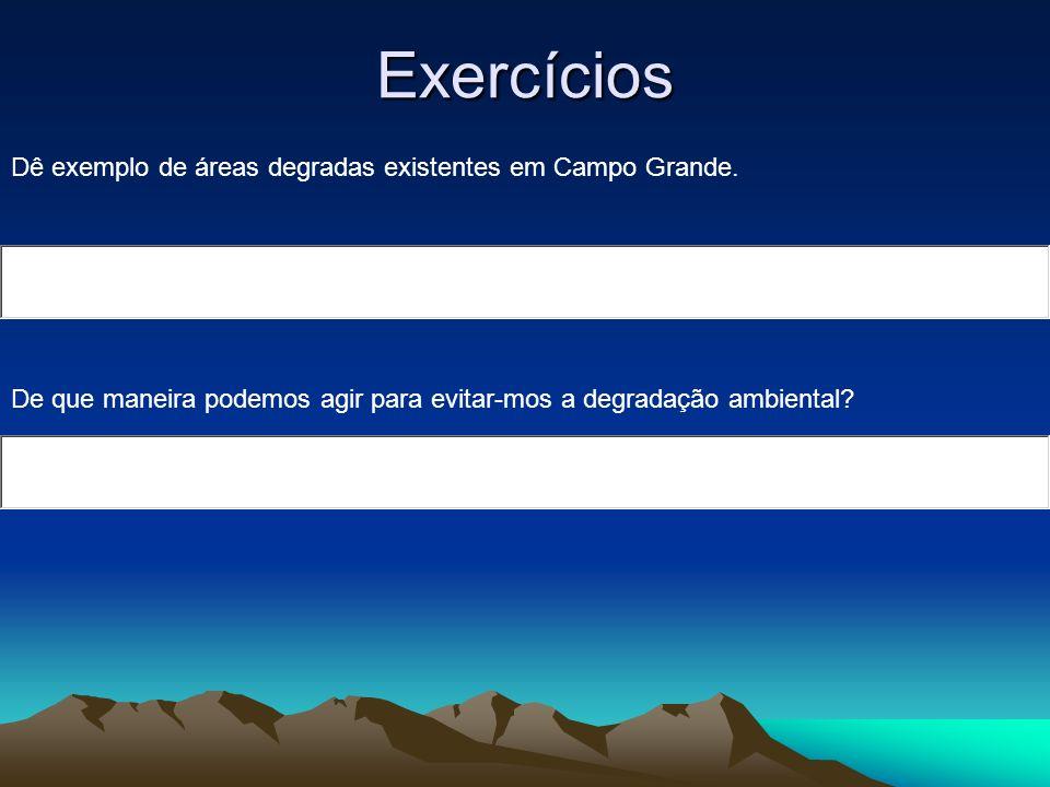 Exercícios Dê exemplo de áreas degradas existentes em Campo Grande.