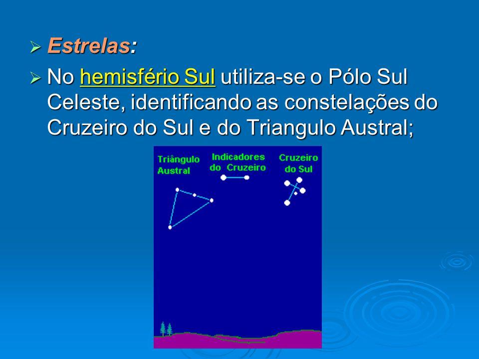 Estrelas: No hemisfério Sul utiliza-se o Pólo Sul Celeste, identificando as constelações do Cruzeiro do Sul e do Triangulo Austral;