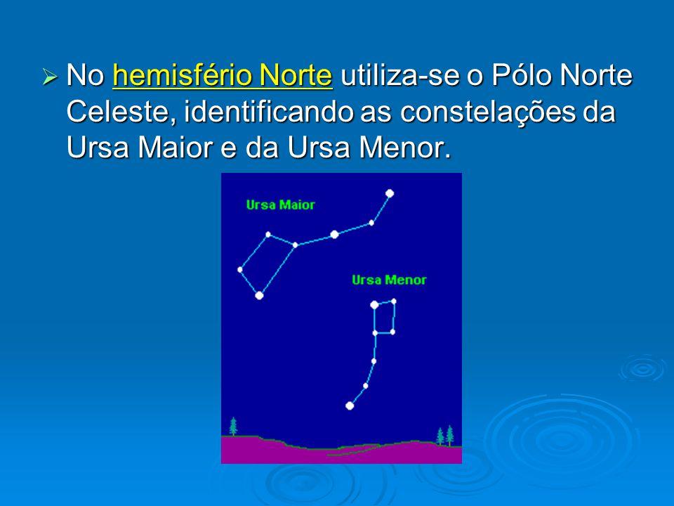 No hemisfério Norte utiliza-se o Pólo Norte Celeste, identificando as constelações da Ursa Maior e da Ursa Menor.