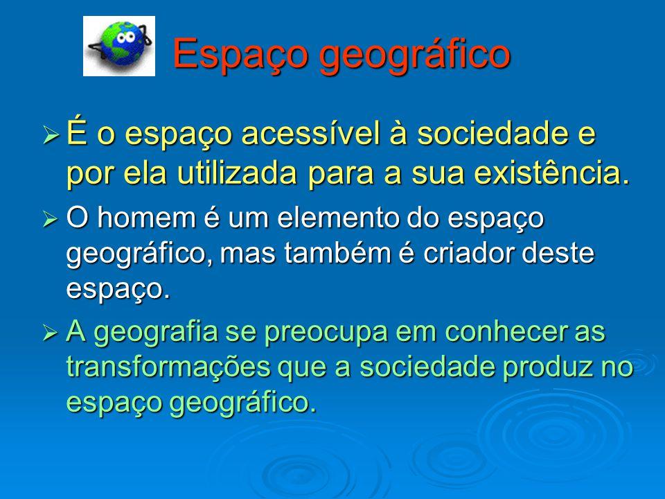 Espaço geográfico É o espaço acessível à sociedade e por ela utilizada para a sua existência.