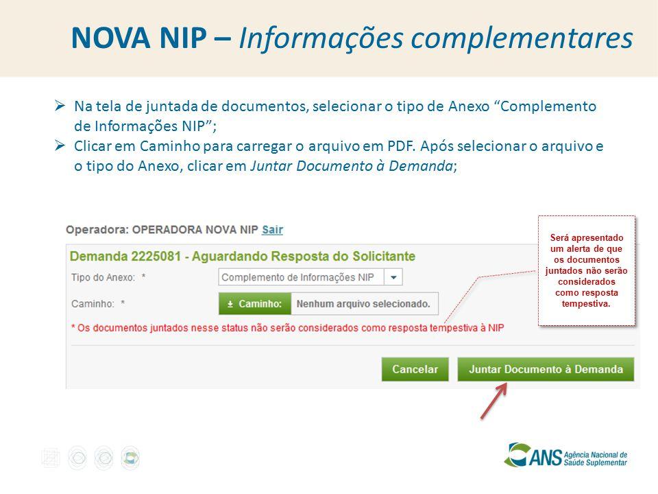 NOVA NIP – Informações complementares