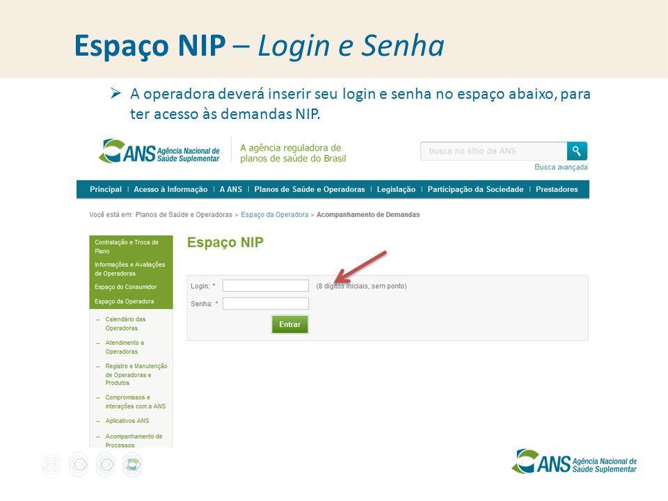 Espaço NIP – Login e Senha