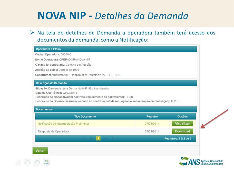 NOVA NIP - Detalhes da Demanda