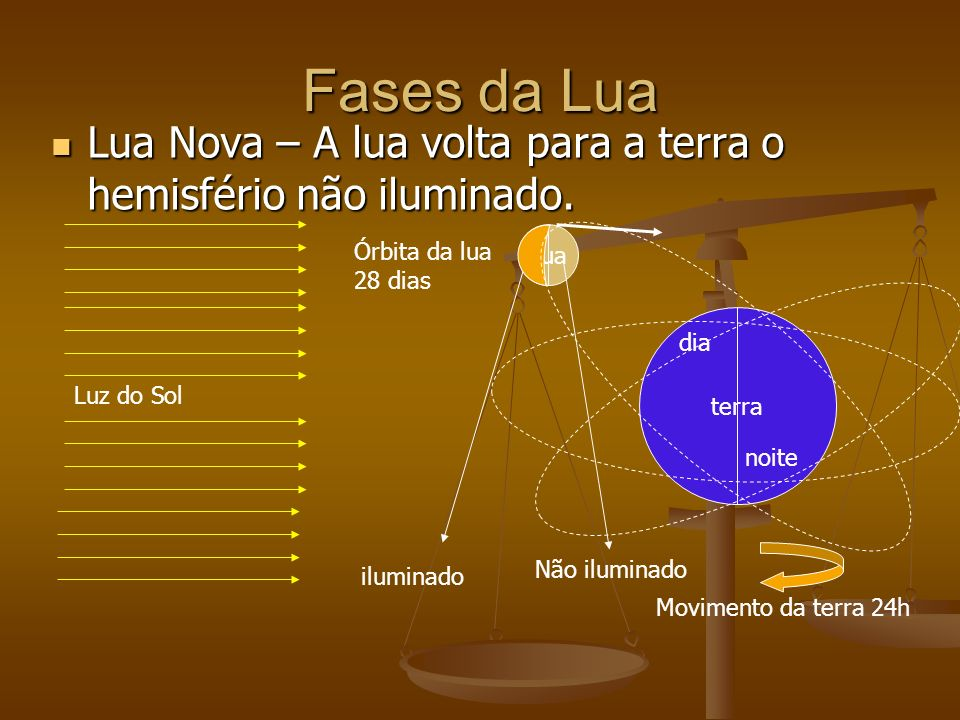 Fases da Lua Lua Nova – A lua volta para a terra o hemisfério não iluminado. Lua. Órbita da lua. 28 dias.