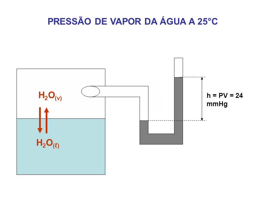 PRESSÃO DE VAPOR DA ÁGUA A 25°C