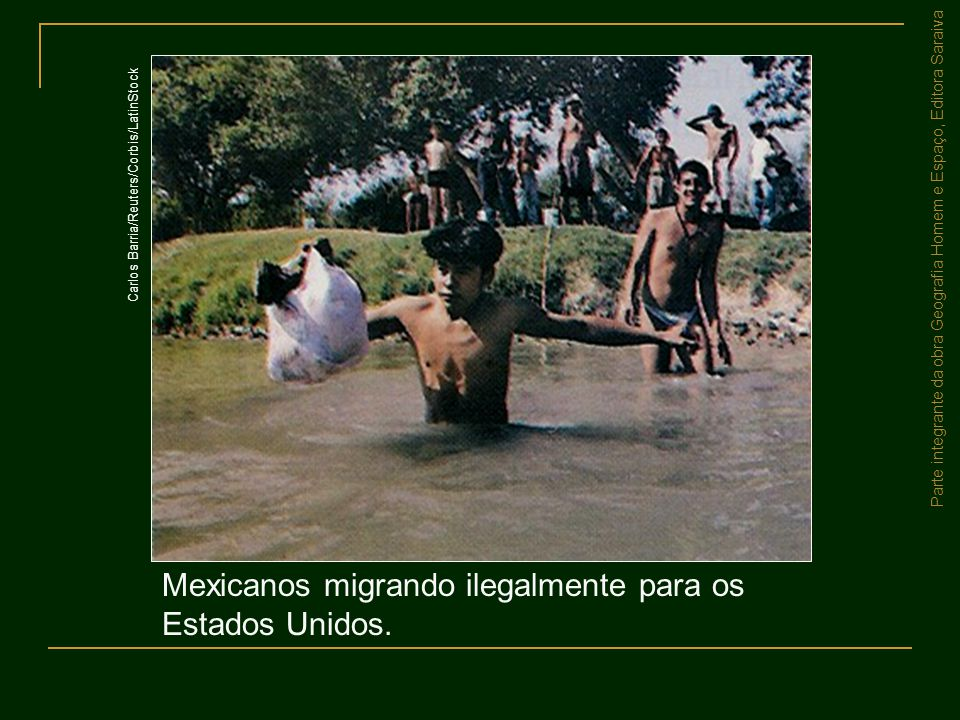 Mexicanos migrando ilegalmente para os Estados Unidos.