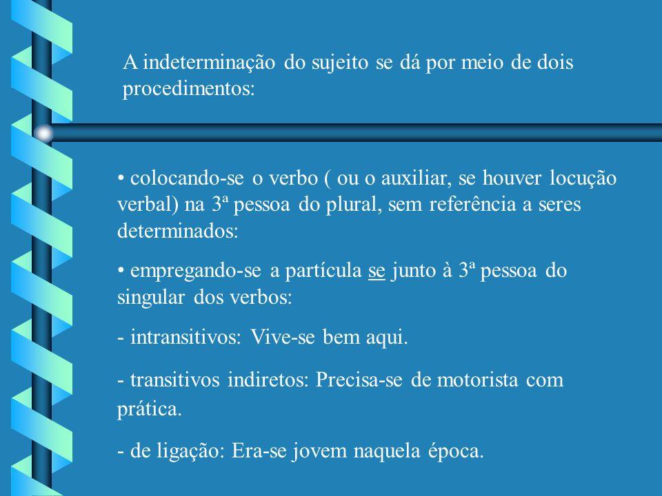 A indeterminação do sujeito se dá por meio de dois procedimentos: