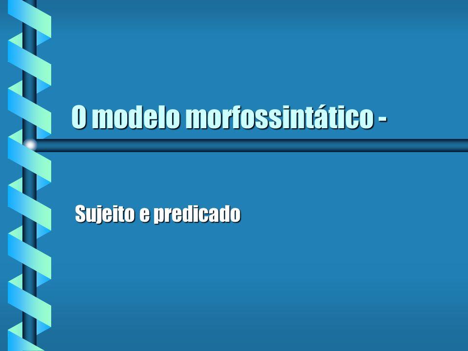O modelo morfossintático -