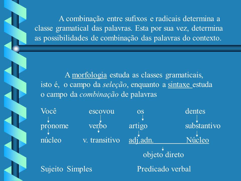 A combinação entre sufixos e radicais determina a classe gramatical das palavras. Esta por sua vez, determina as possibilidades de combinação das palavras do contexto.