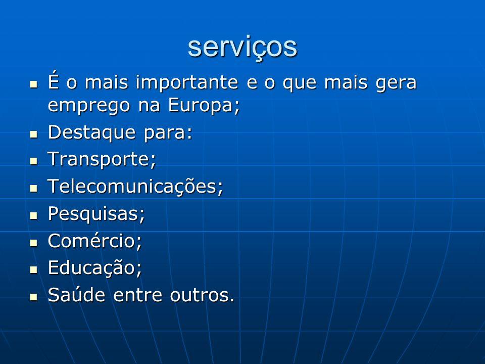 serviços É o mais importante e o que mais gera emprego na Europa;