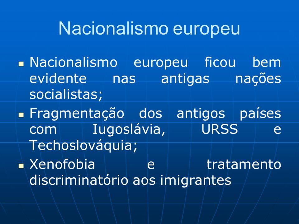 Nacionalismo europeu Nacionalismo europeu ficou bem evidente nas antigas nações socialistas;