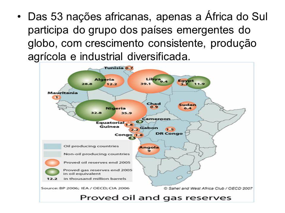 Das 53 nações africanas, apenas a África do Sul participa do grupo dos países emergentes do globo, com crescimento consistente, produção agrícola e industrial diversificada.