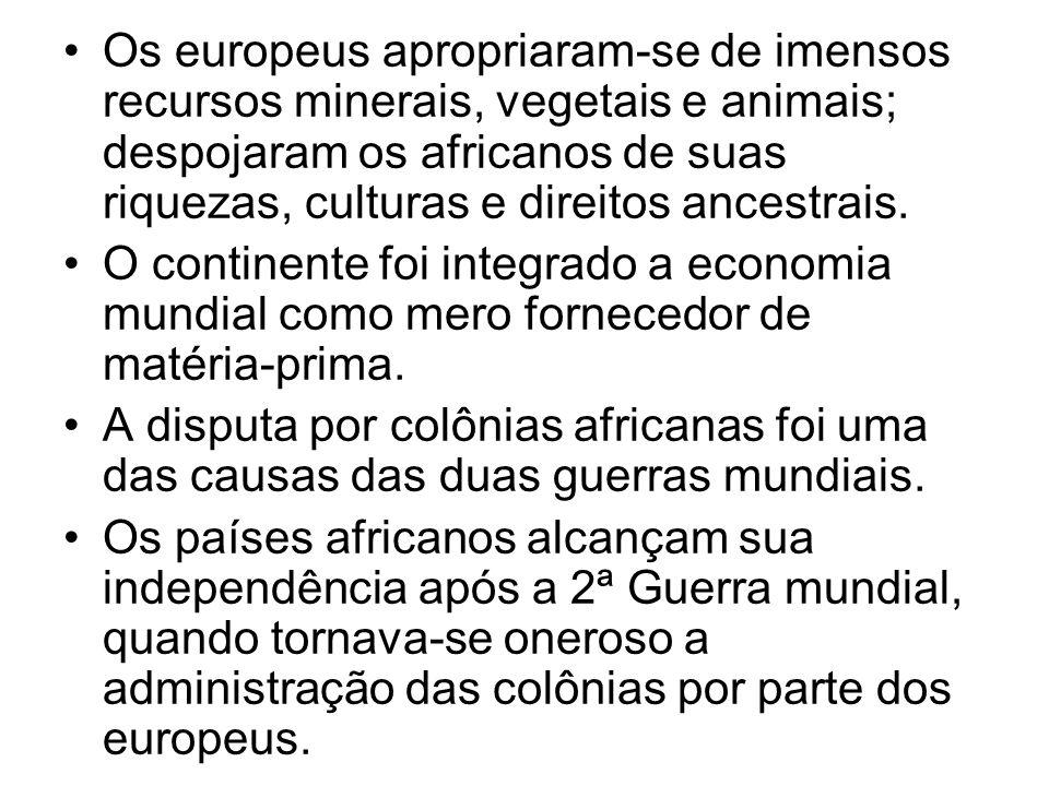 Os europeus apropriaram-se de imensos recursos minerais, vegetais e animais; despojaram os africanos de suas riquezas, culturas e direitos ancestrais.