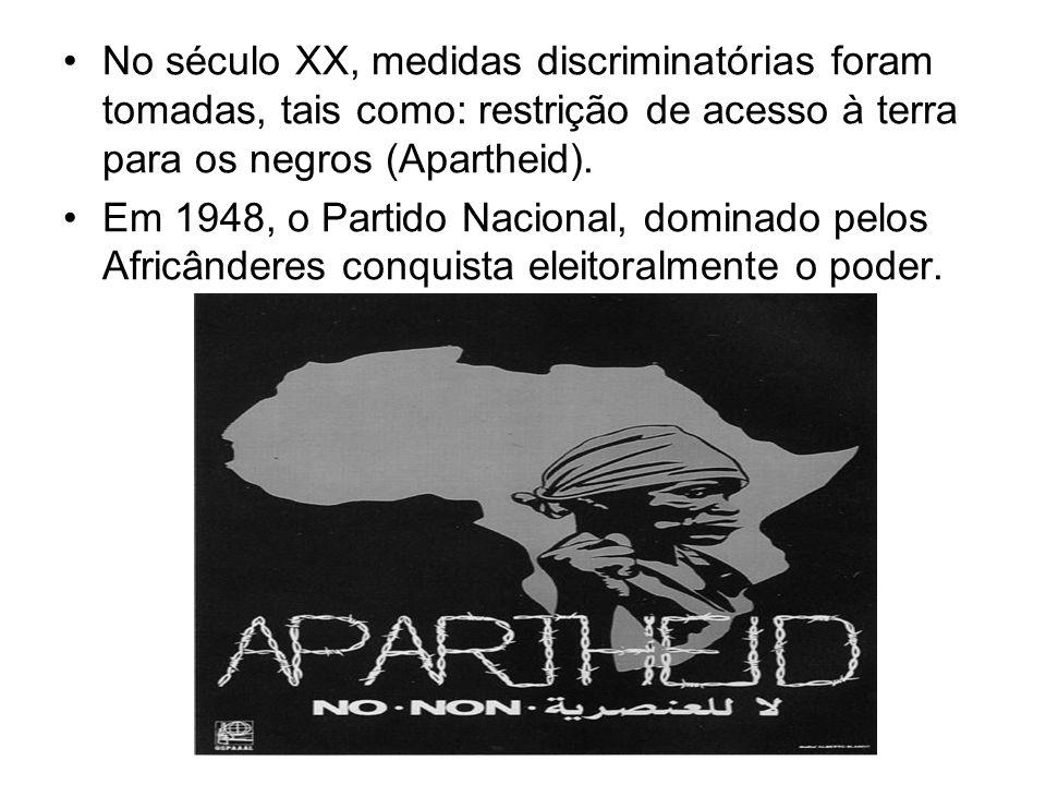 No século XX, medidas discriminatórias foram tomadas, tais como: restrição de acesso à terra para os negros (Apartheid).